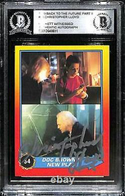 1989 Back To The Future 2 CHRISTOPHER LLOYD Signed Card #54 SLABBED BAS Witness