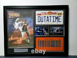 BACK THE FUTURE License Plate Christopher Lloyd Michael J Foxx signed Becket COA