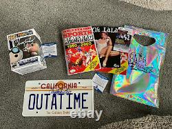 Back To The Future Signed Christopher Lloyd Almanac Funko Pop Licence Plate COA
