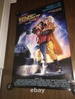 Back to the Future 2 Movie Poster Signed Michael J Fox & Christopher Lloyd 27x40