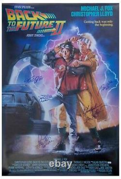 Back to the Future II Cast Signed Poster Michael J Fox Christopher Lloyd + 2 COA