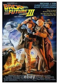 Back to the Future III Cast Signed Poster Michael JFox Christopher Lloyd + 2 COA