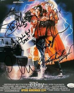 CHRISTOPHER LLOYD MICHAEL J FOX Plus 4 Signed 11x14 Photo Back to the Future JSA