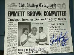 Christopher Lloyd Autograph Back To The Future Newspaper Signed BAS Hill Valley