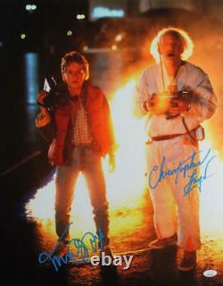 Christopher Lloyd/MJ Fox Signed Back to the Future 16x20 Fire Photo- JSA W Blue