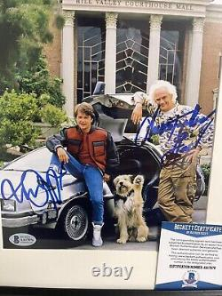 FRAMED MICHAEL J FOX CHRISTOPHER LLOYD SIGNED BACK TO THE FUTURE 8x10 PHOTO BAS