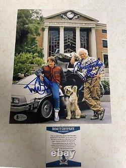 MICHAEL J FOX CHRISTOPHER LLOYD SIGNED BACK TO THE FUTURE 8x10 PHOTO BECKETT