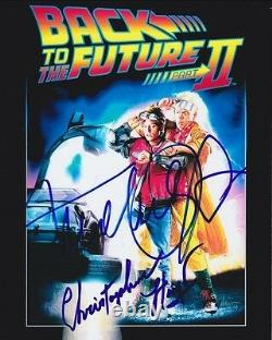 MICHAEL J. FOX CHRISTOPHER LLOYD Signed BACK TO THE FUTURE Photo with Hologram COA