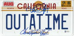 Michael J Fox Christopher Lloyd Back To The Future Signed License Plate Bas 2
