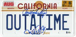 Michael J Fox Christopher Lloyd Back To The Future Signed License Plate Bas 21