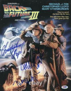 Michael J Fox Christopher Lloyd Mary Steenburgen Signed Back To The Future Photo
