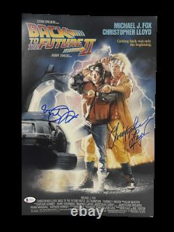 Michael J Fox Christopher Lloyd Signed Back To The Future 12x18 Photo Beckett E