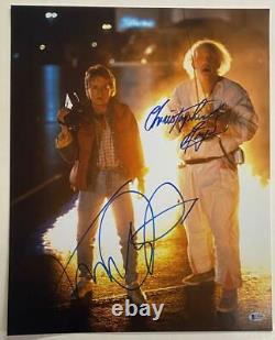 Michael J Fox Christopher Lloyd Signed Back To The Future 16x20 Photo Beckett