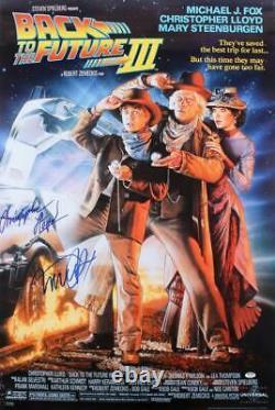 Michael J Fox Christopher Lloyd Signed Back To The Future 3 27x40 Poster Psa Loa