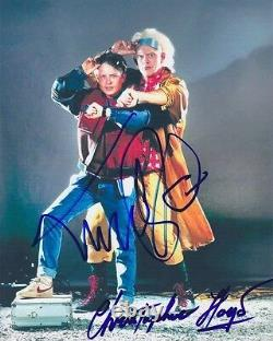 Michael J. Fox and Christopher Lloyd Signed 8x10 Back to the Future Photograph